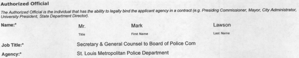 Mark Lawson is listed as the authorized official responsible for the task force's grant funding.