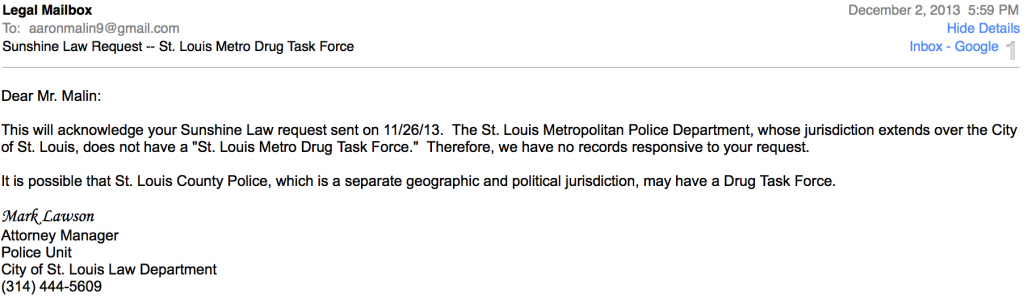 Response to my request for records on the STL Metro Drug Task Force